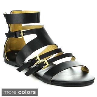 C Label DARBY-2 Women's Gladiator Back Zipper Flat Sandals