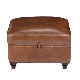 Pablo Fedora Chestnut Leather Storage Ottoman