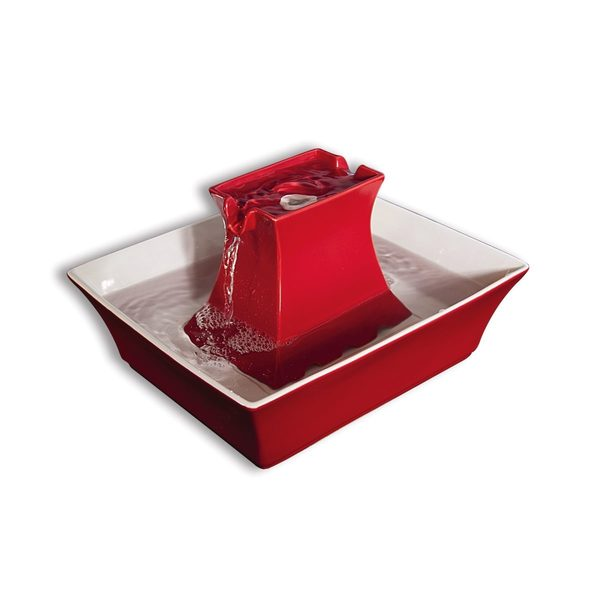 PetSafe Drinkwell Pagoda Dog and Cat Fountain Red