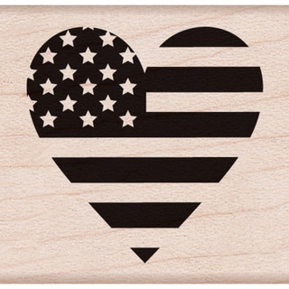 "Hero Arts Mounted Rubber Stamps 1.5""X1.75"" -Heart Flag"