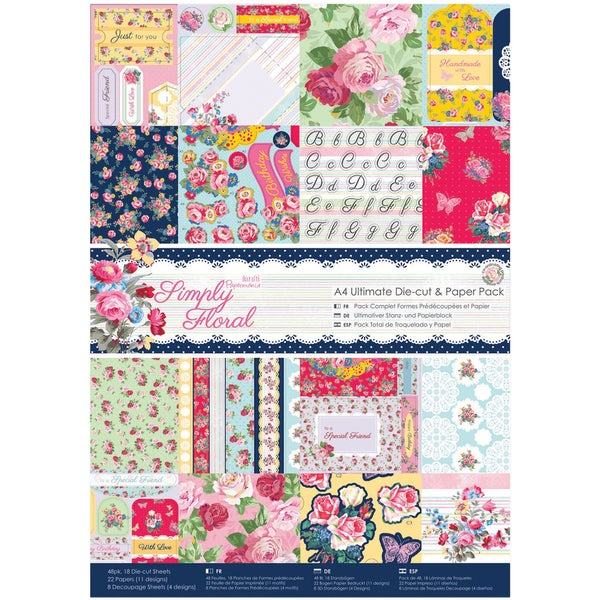 Papermania Simply Floral Ultimate DieCut/Paper Pack A4 48pk