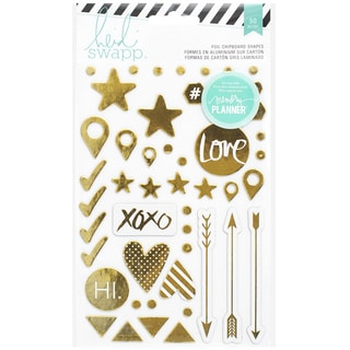 Heidi Swapp Hello Beautiful Foil Chipboard Stickers-Gold Shapes