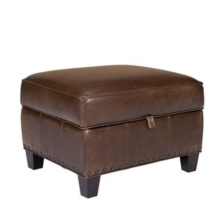 Bradford II Leather Storage Ottoman in Coventry Brown