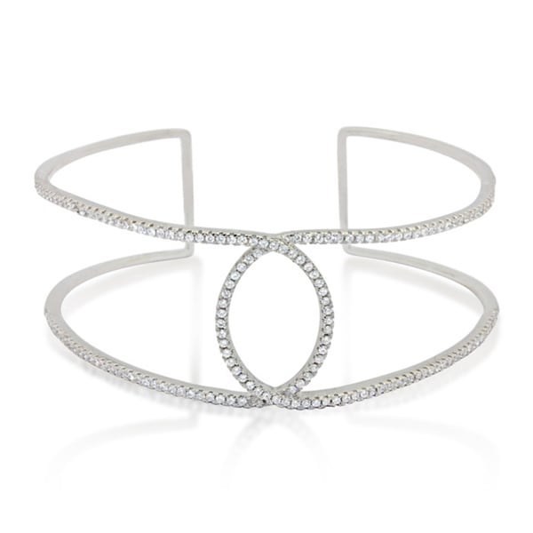 Sterling Silver Cubic Zirconia Twisted Oval Cuff Bangle
