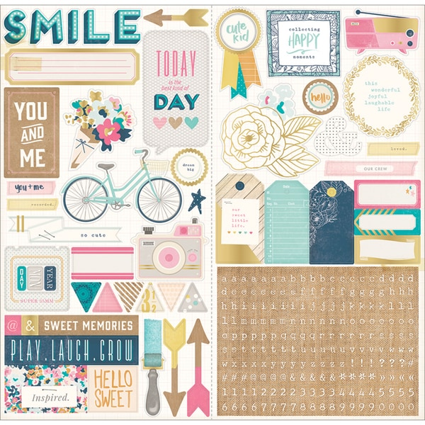 """Craft Market Cardstock Stickers 6""""X12"""" 2/Sheets-Journaling & Title"""