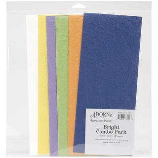 "Homespun Handmade Papers Combo Pack 6""X12"" Strips-Bright"