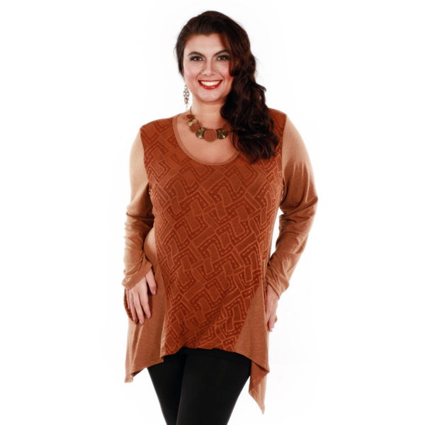 Firmiana Women's Plus-size Long Sleeve Copper Side Tail Pocket Tunic