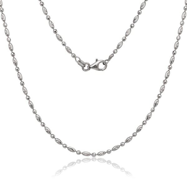 La Preciosa Sterling Silver Alternating Oval and Circle Diamond-cut Moon Bead Chain Necklace
