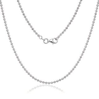 La Preciosa Sterling Silver 2 mm Diamond-cut Moon Bead Chain Necklace