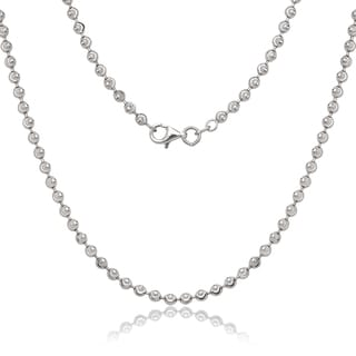 La Preciosa Sterling Silver 3 mm Diamond-cut Moon Bead Chain Necklace