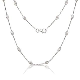 La Preciosa Sterling Silver Diamond-cut Oval Moon Bead Chain Necklace