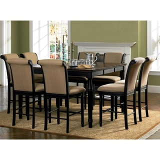 Riverdale Upholstered Distressed Black Wood Counter Height Dining Set