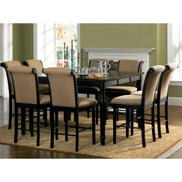 Riverdale Upholstered Distressed Black Amaretto Wood Counter Height Dining S
