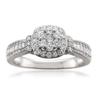 14k White Gold 5/8ct TDW Diamond Halo Composite Engagement Ring (H-I, SI1-SI2)