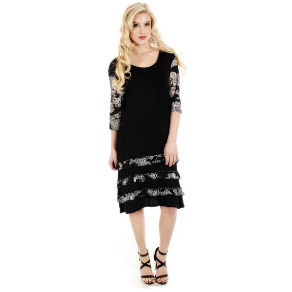 Firmiana Women's 3/4 Sleeve Black/ Grey Ruffle Trim Dress