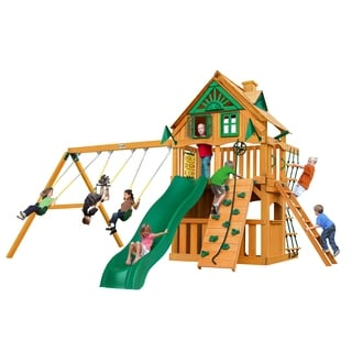 Gorilla Playsets Chateau Clubhouse Treehouse Swing Set with Amber Posts
