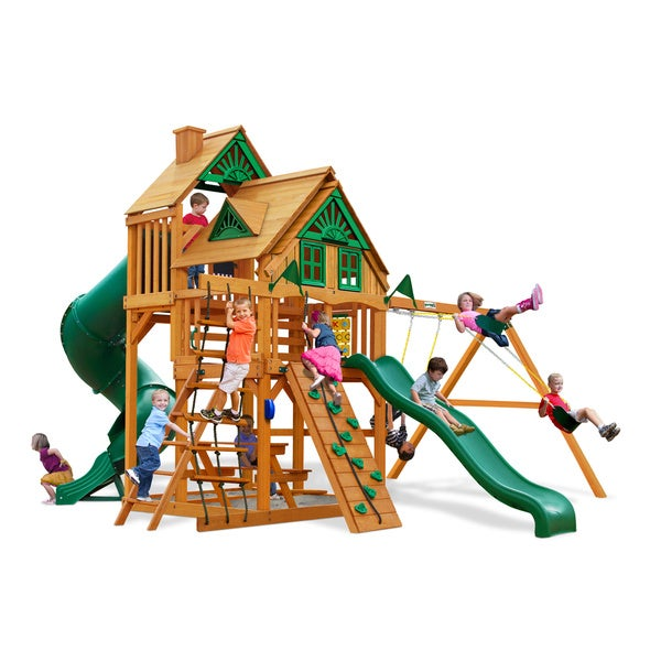 Gorilla Playsets Great Skye I Treehouse Swing Set with Amber Posts 15164475