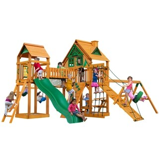 Gorilla Playsets Pioneer Peak Treehouse Swing Set with Amber Posts