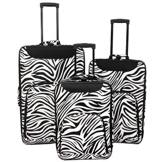 World Traveler Vogue Collection Zebra Expandable 3-piece Wheeled Upright Luggage
