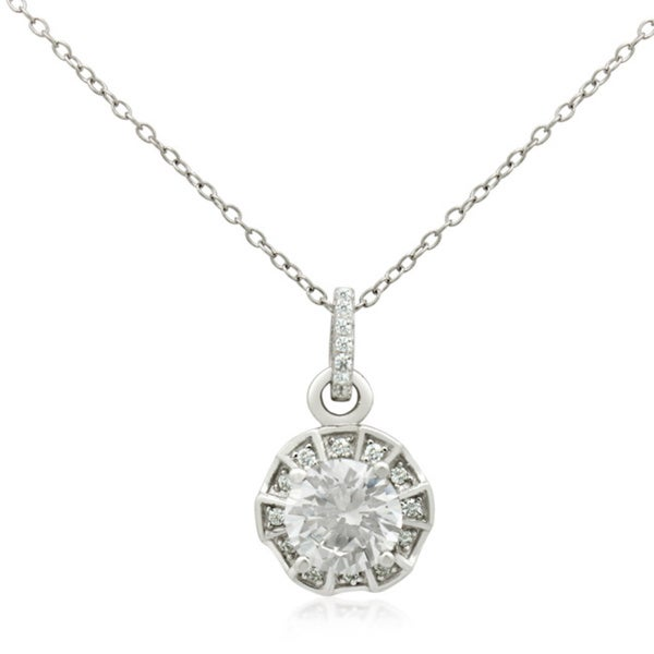 Sterling Silver 8mm Cubic Zirconia Pendant Necklace