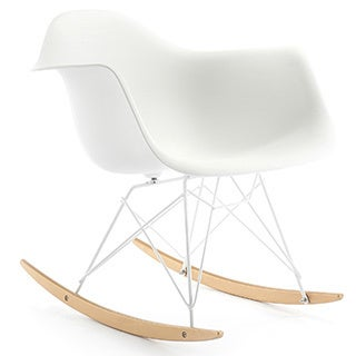 RockMoi Modern Rocking Armchair In White And Goldtone