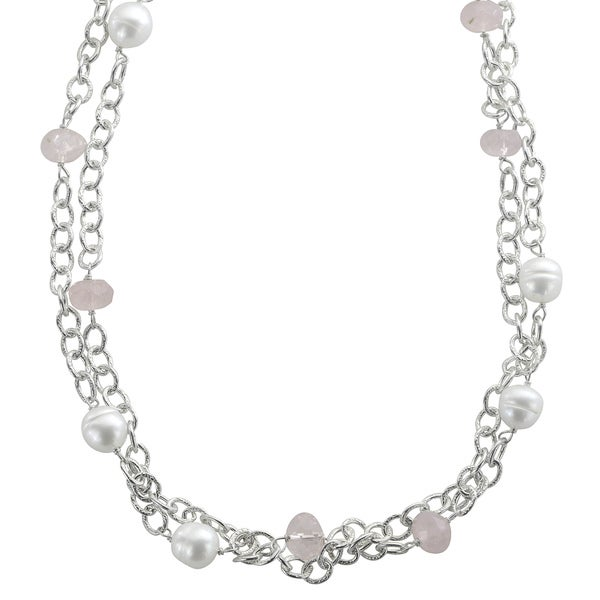 "Pearls For You 18"" Sterling Silver 2Str White FWP & Rose Quartz Necklace (9-10 mm)"