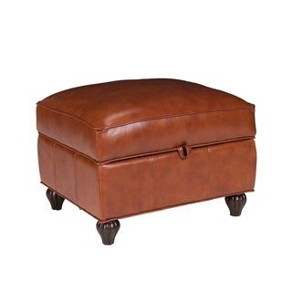 Benjamin Leather Storage Ottoman in Barstow Cognac