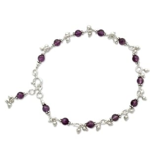 Handcrafted Sterling Silver 'Purple Splendor' Amethyst Anklet (India)
