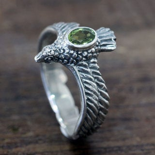 Handcrafted Sterling Silver 'Peace Messenger' Peridot Ring (Indonesia)