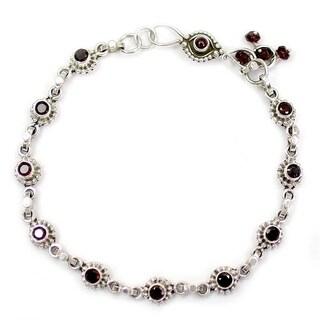 Sterling Silver 'Scarlet Sun Blossoms' Garnet Anklet (India)