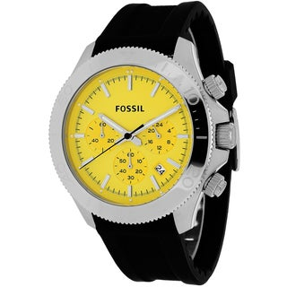 Fossil Men's CH2852 Retro Traveler Round Black Silicone Strap Watch