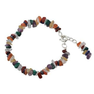 Sterling Silver 'Peace Ritual' Multi-gemstone Bracelet (India)