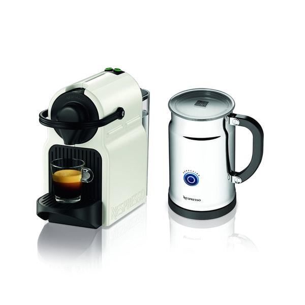Nespresso Inissia White Espresso Maker with Aeroccino Plus Milk Frother