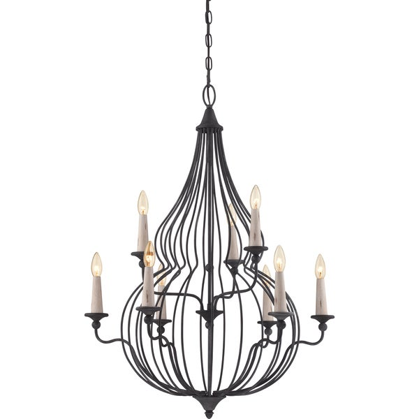 Quoizel Canyon 9-light Mottled Black Chandelier