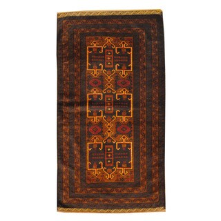 Herat Oriental Afghan Hand-knotted Semi-antique Tribal Balouchi Brown/ Beige Wool Rug (3'6 x 6'3)