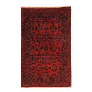 Herat Oriental Afghan Hand-knotted Tribal Khal Mohammadi Red/ Navy Wool Rug (4' x 6'4)