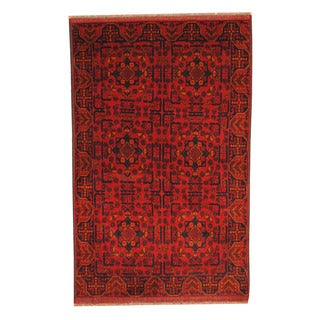Herat Oriental Afghan Hand-knotted Tribal Khal Mohammadi Red/ Navy Wool Rug (4' x 6'5)