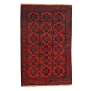 Herat Oriental Afghan Hand-knotted Tribal Khal Mohammadi Red/ Navy Wool Rug (4'2 x 6'7)