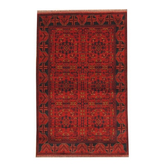 Herat Oriental Afghan Hand-knotted Tribal Khal Mohammadi Red/ Black Wool Rug (4'1 x 6'4)