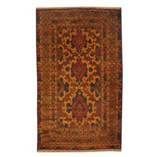 Herat Oriental Afghan Hand-knotted Semi-antique Tribal Balouchi Brown/ Beige Wool Rug (4'2 x 6'11)