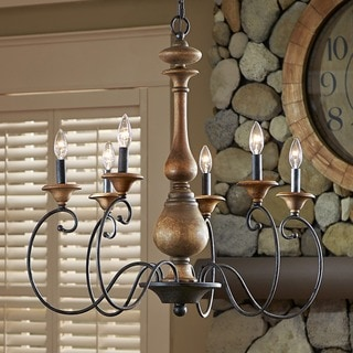 Auburn indoor 6-light Rustic Black Finish Chandelier