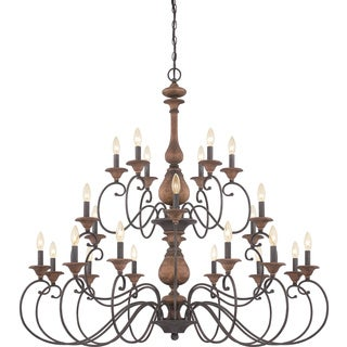 Auburn Rustic Black 24-light Three Tier Chandelier