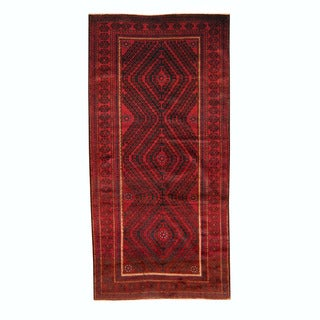 Herat Oriental Afghan Hand-knotted Semi-antique Tribal Balouchi Burgundy/ Black Wool Rug (4'7 x 9'5)
