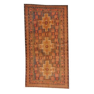 Herat Oriental Afghan Hand-knotted Semi-antique Tribal Balouchi Brown/ Red Wool Rug (4'6 x 8'8)