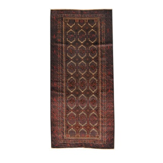 Herat Oriental Afghan Hand-knotted Semi-antique Tribal Balouchi Black/ Ivory Wool Rug (4'1 x 9'1)