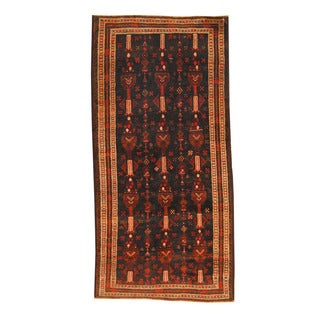 Herat Oriental Afghan Hand-knotted Semi-antique Tribal Balouchi Black/ Ivory Wool Rug (4'5 x 9'1)