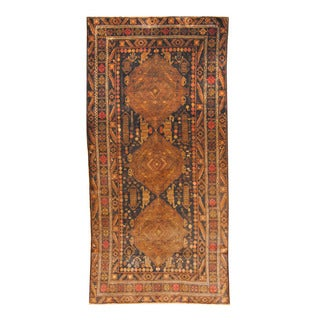 Herat Oriental Afghan Hand-knotted Semi-antique Tribal Balouchi Black/ Brown Wool Rug (4'9 x 9'9)