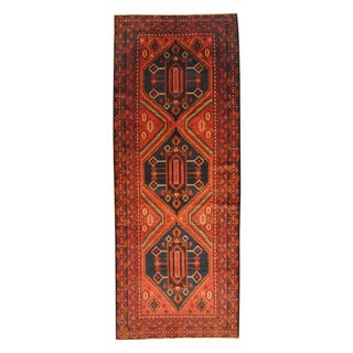 Herat Oriental Afghan Hand-knotted Semi-antique Tribal Balouchi Rust/ Brown Wool Rug (4'2 x 10'10)