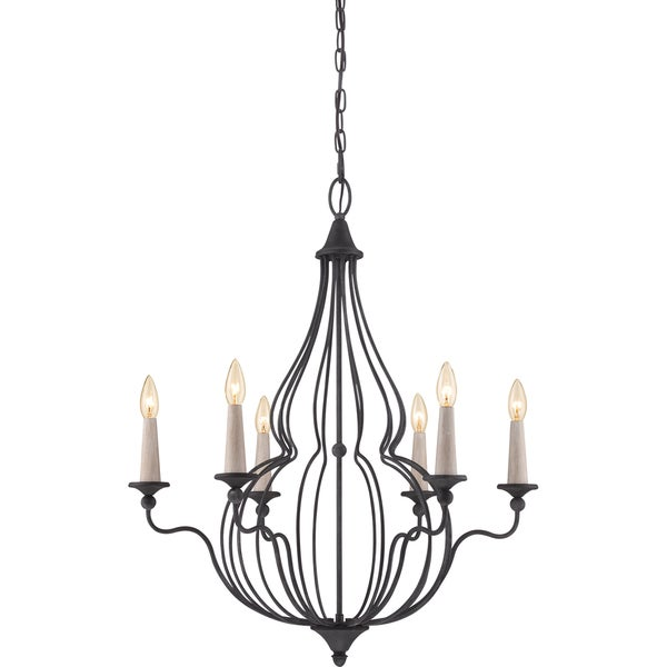 Quoizel Canyon 6 light Mottled Black Chandelier