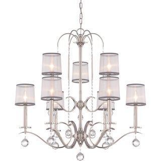 Whitney Imperial Silver Two Tier 9-light Chandelier